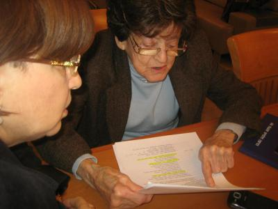 Hadassah Halamish and Esther Borstein reviewing excerpts from the diary of their cousin Rywka Lipszyc