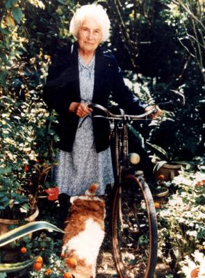 Marie Rose Gineste and her bicycle