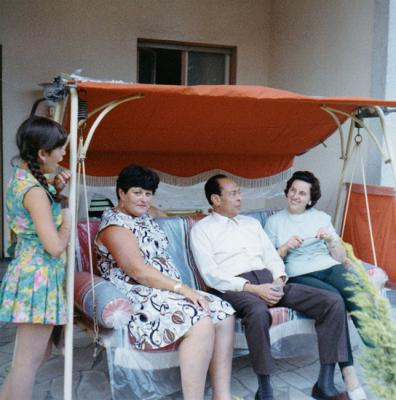 Anna Boros Gutman (second from left) during her visit to Berlin with her daughter Carla (extreme left), Dr. Helmy and his wife Emmi (right), 1969