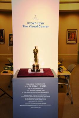 "Branko Lustig's Oscar for Best Picture for the film ""Schindler's List"" now on display at Yad Vashem's Visual Center"