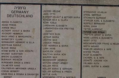 Ilse Sonja Totzke's name engraved on the Wall of Honor in the Garden of the Righteous at Yad Vashem