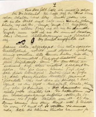 A letter from Marianne to her mother, dated 17th March 1940, in which she describes and draws a new pair of shoes that she had bought