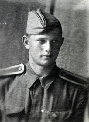 Anatoly Konovich in Red Army uniform, aged 17