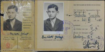 A forged school identity card in the name of Jozef Balicki, Poland, 1938