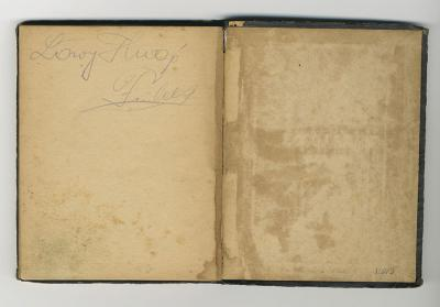The inside cover of Hugo Lowy's prayer book inscribed with his name. Hugo was deported in 1944 from Budapest to Auschwitz, where he was murdered