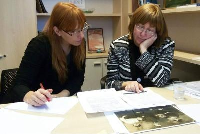 Leah Carlebach, pictured with Yad Vashem Names Project staff