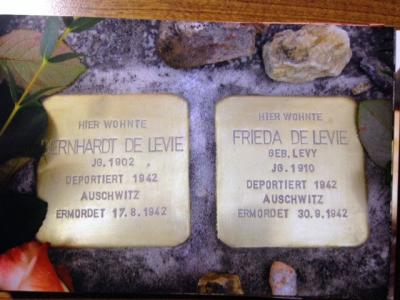"The ""stumbling stones"" commemorating Bernhardt and Freida DeLevie outside their former home in Meissen, Germany. December 2013"