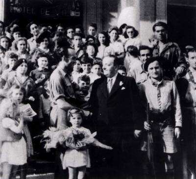 Jean Deaffaugt after liberation with the children he rescued