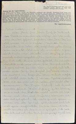 Letter that Lore Bender sent from Vught to her parents in Westerbork