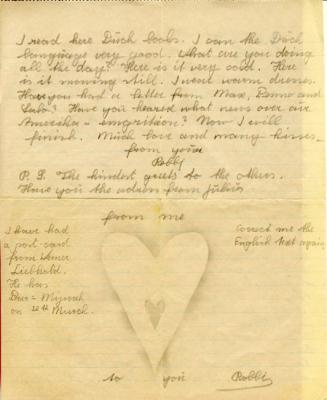 A letter from Robert to his mother, dated 20th February 1940. Part of the letter is written in English, in preparation for their intended emigration to the USA