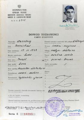 Dov Weissberg's temporary identity card from 1950, the year in which he immigrated to Israel