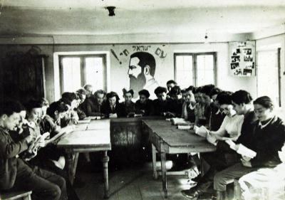 Members of the hachsharah group at Firstbach being taught by an emmisary from Eretz Israel
