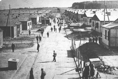 The main street of Stalag IX A, Ziegenhain. photo taken in 1942 from the main watch tower