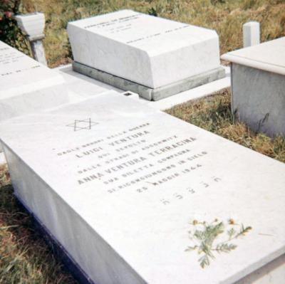Luigi Ventura's tombstone in Pisa. The tombstone is also engraved with the name of his wife Anna, who was murdered in Auschwitz.