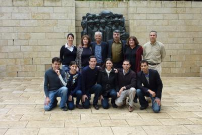 The extended Korenblum family pictured in Janusz Korczak Square at Yad Vashem