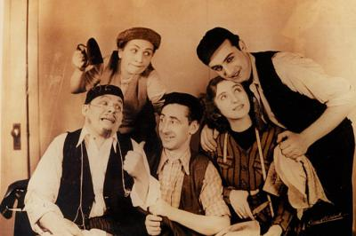 Actor Zisha Katz pictured with members of traveling Yiddish theatre troupe in New York City 1939