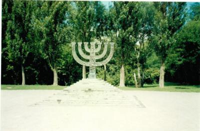 Menorah-shaped monument to the Jews massacred at Babi Yar, opened in 1991
