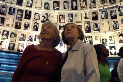 Cousins Livia Prince and Veronica Zer in the Hall of Names at Yad Vashem