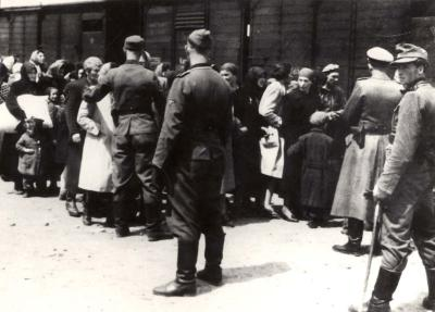 Jews during selection at Auschwitz-Birkenau, May 1944