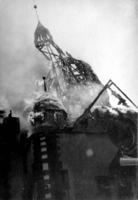Siegen, Germany, A synagogue on fire during Kristallnacht, November 10, 1938