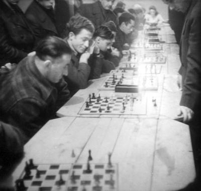 A chess tournament among survivors at the Landsberg DP camp, Germany