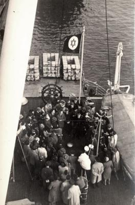 "Jews aboard the ""Negba"" Ship, Amsterdam, Holland, October 1948"