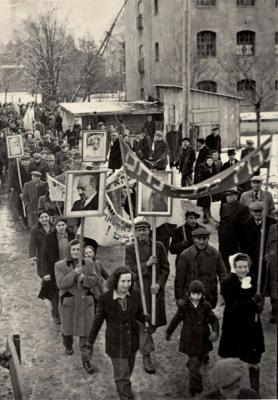 A Zionist demonstration being held in a DP camp in Landsberg, Germany, November 1947