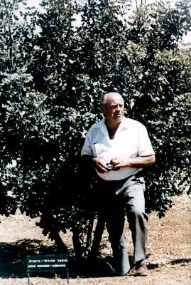 Schindler next to the tree planted in his honor in the Avenue of the Righteous