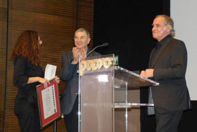 "Michael Verhoeven (right) receiving the ""Avner Shalev Yad Vashem Chairman's Award"" at the 2009 Jerusalem International Film Festival"