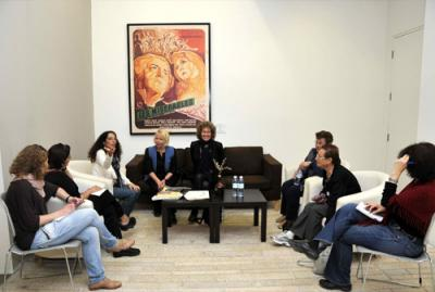 At the Yad Vashem Visual Center, Left to right: Inbal Kvity and Masha Pollak Rozenberg of the Internatinal School for Holocaust Studies, Liat Benhabib, Ms. Kristina Morgenstern, Eva Lutkiewicz, Elinoar Palov and Rachel Oron