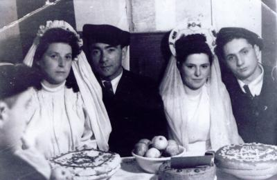 Two Couples on Their Wedding Day, Pocking DP Camp, Germany, 1946.  On the right: Tovah and Yosef Zilberberg; on the left: Rachel Spracher and Yishayahu Novogrodsky