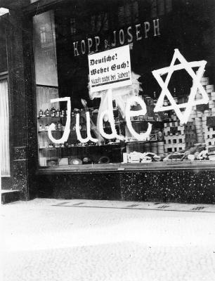 "A sign on a store owned by German Jews: ""Protect Yourselves, Don't Buy from Jews"""