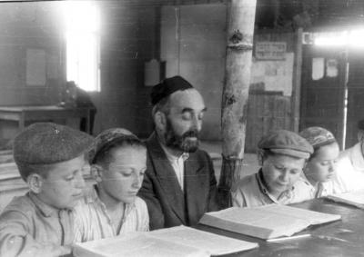 "Salzburg, Austria, Children learning in a ""cheder"" at the ""Beit Bialik"" DP camp, Postwar"