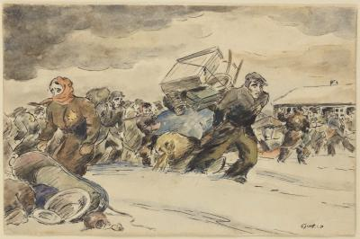 Ben-Zion (Nolik) Schmidt (1925-1944) The Evacuation, Kovno Ghetto, 1942 Watercolor and ink on paper 9.1x14 cm Collection of the Yad Vashem Art Museum, Jerusalem Tory Collection, gift of Pnina and Avraham Tory