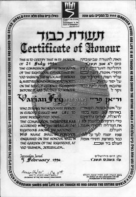 The certificate of honor awarded by Yad Vashem to Varian Fry