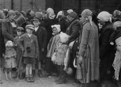 Transport arrival at Auschwitz-Birkenau. From left to right: Mrs. Tsubs Miller, standing with her three sons and daughter; Bryna Szlomowicz from Tacovo; Bryna stands with her two daughters, all were murdered upon arrival. (Photo 7)