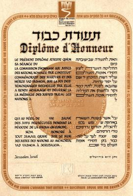 The Righteous Among the Nations Certificate