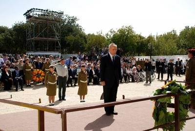 President of the State of Israel Shimon Peres during the wreath-laying ceremony