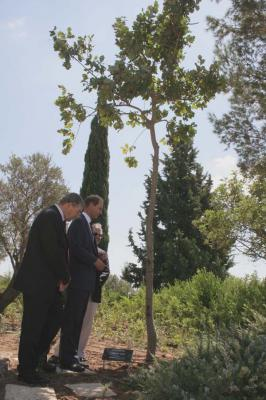 Prince Edward visits the tree planted at Yad Vashem in honor of his grandmother, Princess Alice
