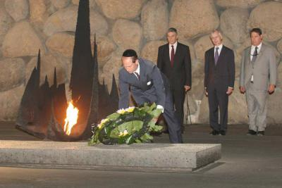 Prince Edward lays a wreath in the Hall of Remembrance in memory of the victims of the Holocaust