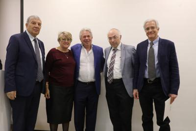 (L to R)  Avner Shalev, Brian and Lee Joffe, Prof. Dan Michman and Omer Bartov