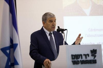 Yad Vashem Chairman Avner Shalev speaking at the event marking the conclusion of a decade long project to uncover the names of Hungarian victims of the Holocaust