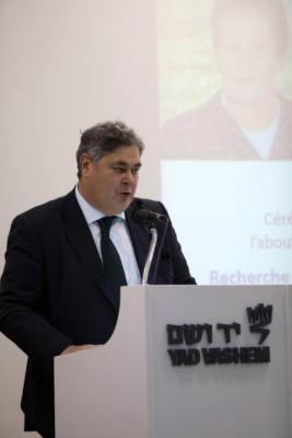 President of the French Friends for Yad Vashem (Comité Francais pour Yad Vashem) Pierre-François Veil addressing the audience at an event commemorating his mother's legacy