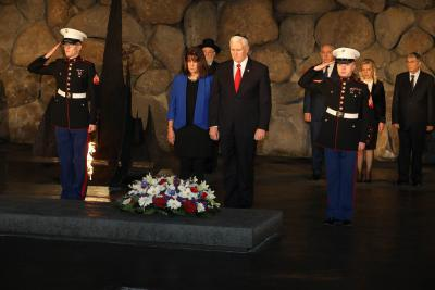 The Vice President and Second Lady laid a wreath in the Hall of Remembrance in memory of the six million Holocaust victims