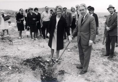 Camille Ernst and his wife in the tree planting ceremony, Yad Vashem,  May 7, 1972
