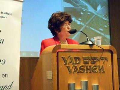 "Prof. Lenore Weitzman, George Madison University, presenting her paper on ""Saving Lives: The Activities of the Bund, Zegota, Dror and Hashomer HaTza'ir to Help Jews Escape, Hide and Pass on the Aryan Side in Poland"" at the 2010 International Conference"