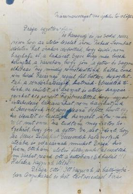 The farewell letter that the Herstik family wrote on 17 April 1944 to their son and brother Otto, who had been conscripted to forced labor