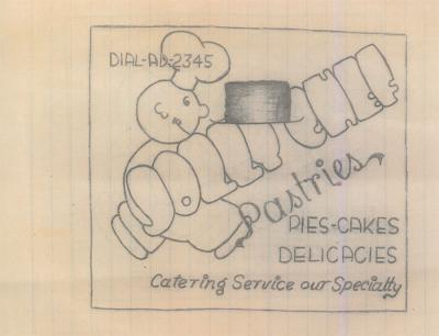 Drawing made by Edmonds during his captivity – given the shortage of food in the camp, Edmonds and his fellow POWs planned to open a restaurant after their return home.  The plans never materialized
