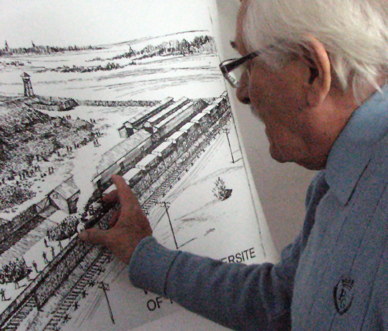 Samuel Willenberg with one of the maps he drew of Treblinka