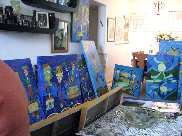 Chava Wolf's paintings in her apartment
